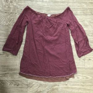 Tobi burgundy 3/4 belle sleeve shirt